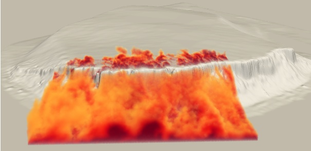 Figure 1 – Large eddy Simulation of the flow over the Bolund Hill. Image credits H. Owen and G. Marin, Barcelona Supercomputing Centre