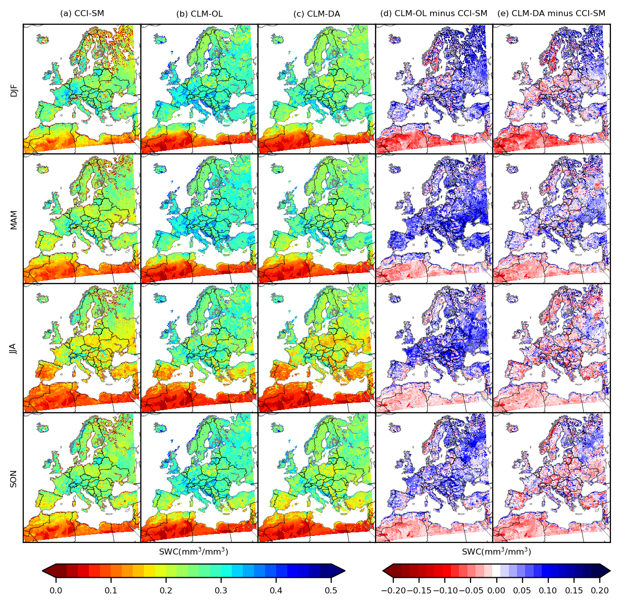 Figure 3: Improved soil moisture content over 2000-2006 time period using data assimilation framework with a land surface model (Naz et al., 2019).